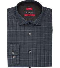 awearness kenneth cole awear-tech navy & gray plaid slim fit dress shirt