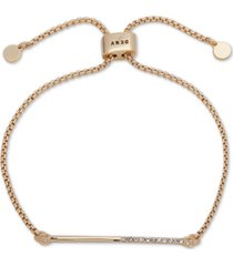 dkny gold-tone half-pave bar slider bracelet