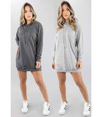 kit 2 vestido vicbela manga longa camisã£o moletinho - cinza/grafite - feminino - dafiti