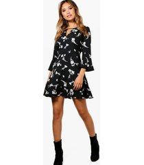 bloemenprint jurk met ruches, zwart