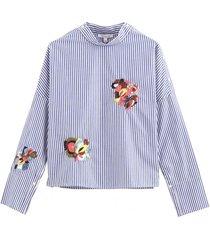 blusa rayas bordado azul nicopoly