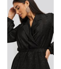 na-kd party sparkling blazer dress - black