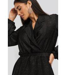 na-kd party sparkling blazer dress - black