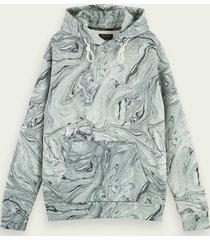 scotch & soda hoodie van een katoenmix met marmereffect en artwork
