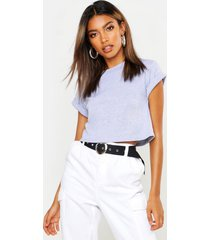 basic roll sleeve crop t-shirt, grey marl