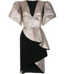 saiid kobeisy v-neck structured sleeve dress - gold