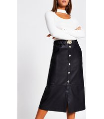 river island womens black faux leather belted waist midi skirt