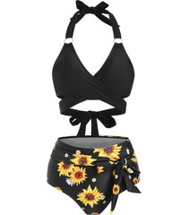 ring sunflower knot high waisted wrap bikini swimwear