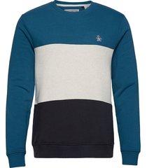 colour block sweatshirt sweat-shirt tröja blå original penguin