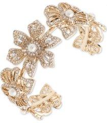 marchesa gold-tone crystal & imitation pearl flower cuff bracelet