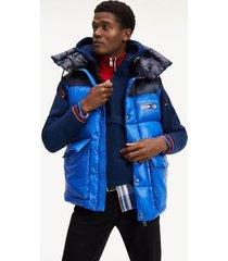 tommy hilfiger men's hooded puffer vest cobalt - xs