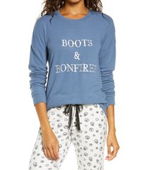 women's pj salvage boots & bonfires pajamas top, size small - blue