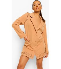 petite blazer jurk met veters, camel