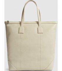 reiss elliott - tumbled leather tote bag in cream, mens