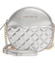 ted baker london cirrcus quilted leather circle crossbody bag - metallic
