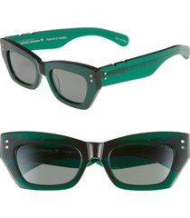 women's pared bec & bridge petite amour 50mm sunglasses - emerald solid green lenses