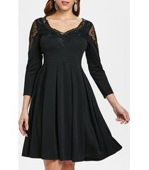 embroidered mesh insert flare dress