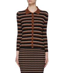 striped rib knit cotton cardigan