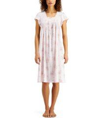 miss elaine floral-print knit nightgown