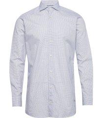 navy checked cotton silk shirt – soft overhemd business blauw eton