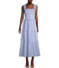 gal meets glam women's striped ruffle-trim maxi dress - blue white - size 20