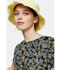 yellow fray edge bucket hat - lemon