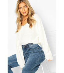 cropped fisherman v neck sweater, cream