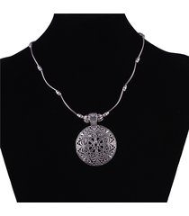 collana pendente d'epoca argento antico fiore cavo collana rotonda gioielli etnici per le donne