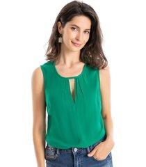 blusa abertura triangular verde nicopoly