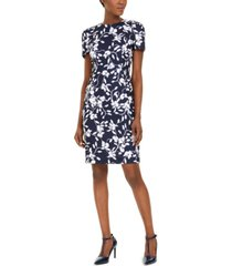calvin klein printed scuba-crepe sheath dress