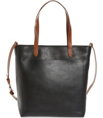 madewell the zip-top medium transport leather tote - black