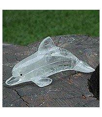 crystal quartz statuette, 'dolphin' (brazil)