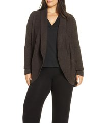 plus size women's barefoot dreams cozychic lite circle cardigan, size 3x - brown