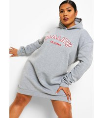 plus malibu sweatshirt jurk met capuchon, grey