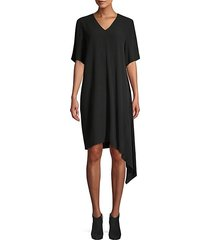 short-sleeve asymmetrical silk shift dress