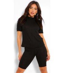 bandage boxy t-shirt & short set, black