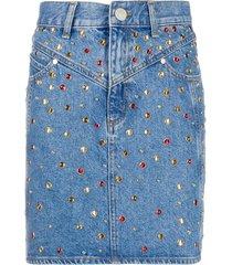 sandro paris rubyn stud-embellished denim skirt - blue