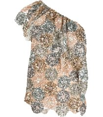 antonio marras sequin-embellished one-shoulder blouse - gold