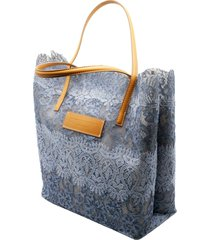 ermanno scervino seeds of love shopping bag with leather handles and detachable internal pouch size cm. 32 x 33 x 13