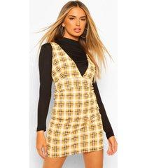 2-in-1 geruite pinafore jurk met lange mouwen, mustard