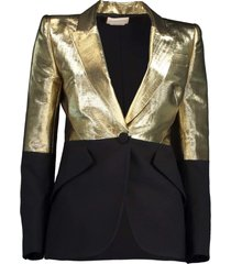 black and gold one button jacket
