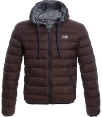 man double face brown down jacket