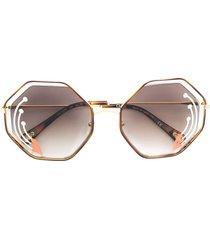 chloé eyewear poppy sunglasses - brown