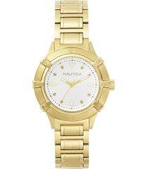 reloj clásico dorado nautica