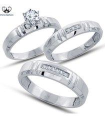 1.25 ct diamond round cut 14k white gold plated 925 silver trio wedding ring set