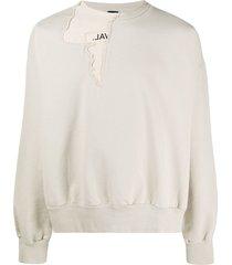 val kristopher distressed layered sweatshirt - neutrals