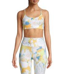 kensie women's floral cross-back sports bra - size l