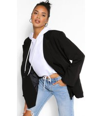 oversized pocket detail dad blazer, black