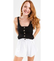cody button front sweater tank top - black