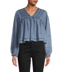 free people women's charlotte denim blouse - medium indigo - size xs